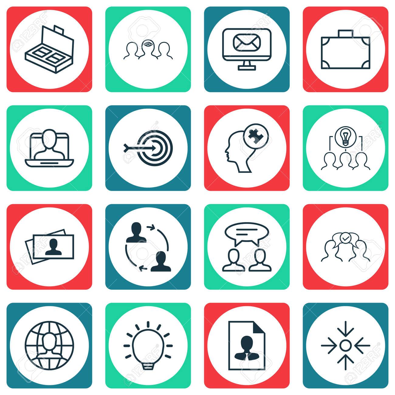 Conjunto De 16 Iconos De Gestión Empresarial. Incluye Tarjeta De ...