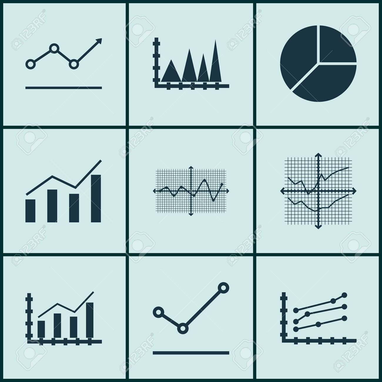 Set Of Graphs, Diagrams And Statistics Icons. Premium Quality ...
