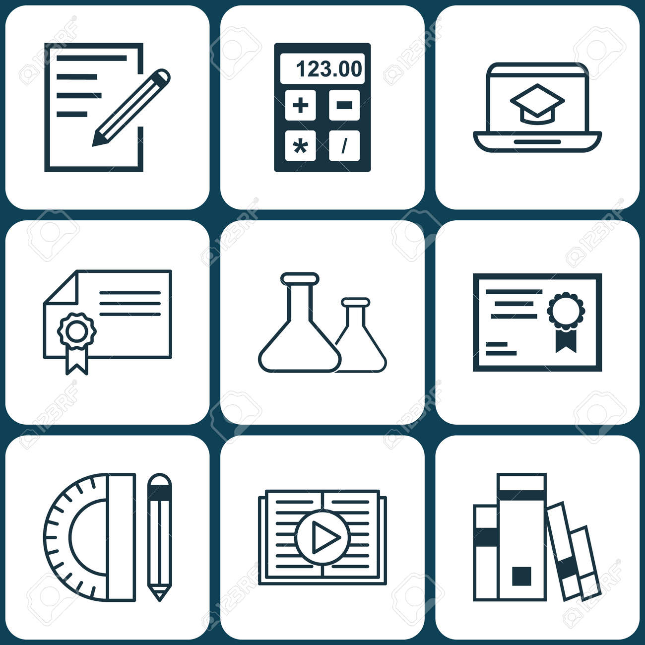 Set Of 9 Education Icons Includes Paper Chemical Education Tools