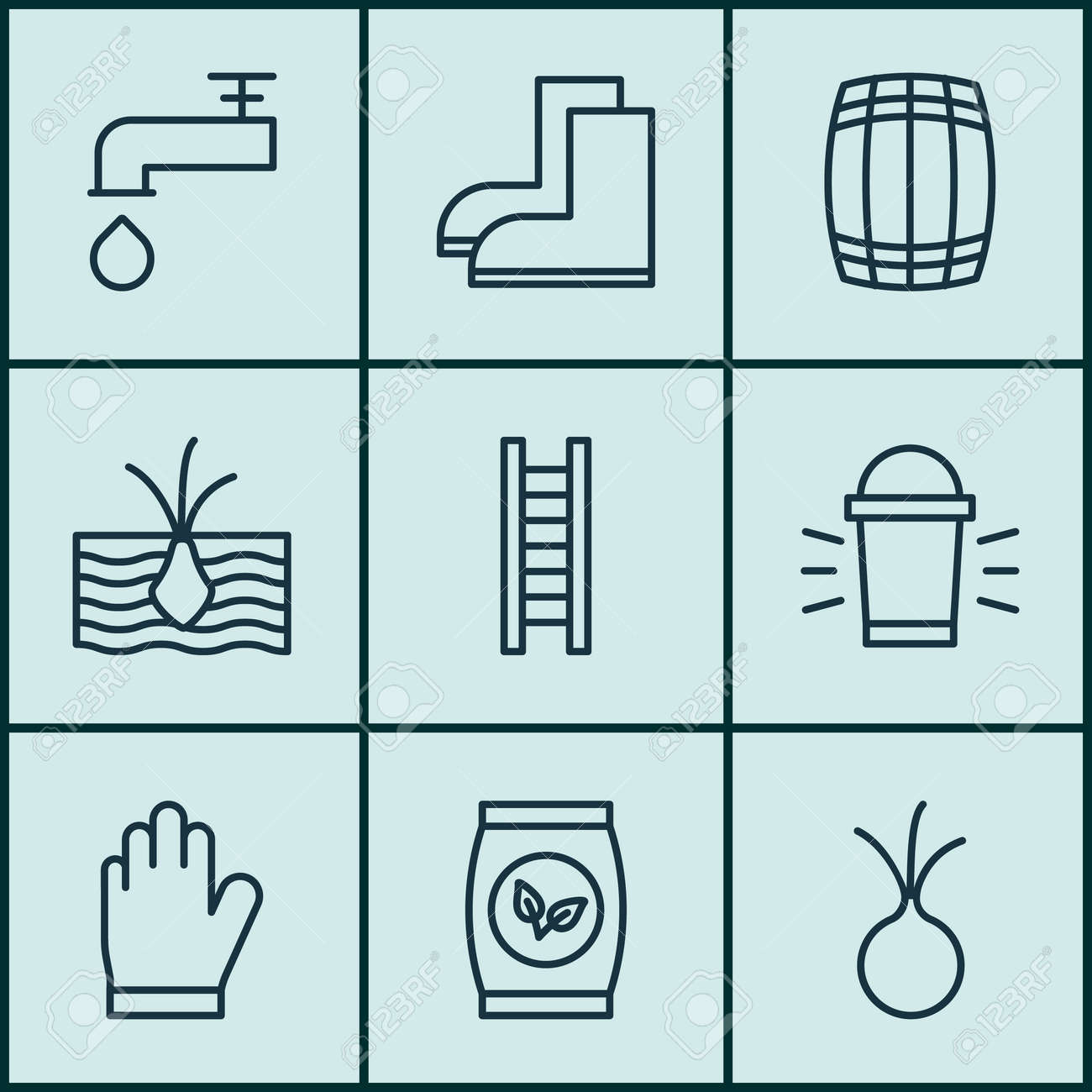 Set Of 9 Plant Icons. Includes Cask, Growing Plant, Spigot And ...