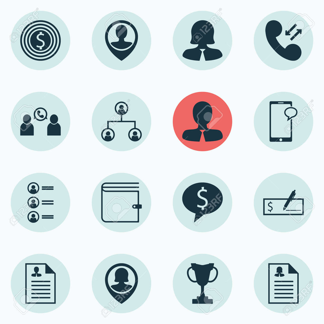 set of 16 human resources icons includes curriculum vitae female application manager and