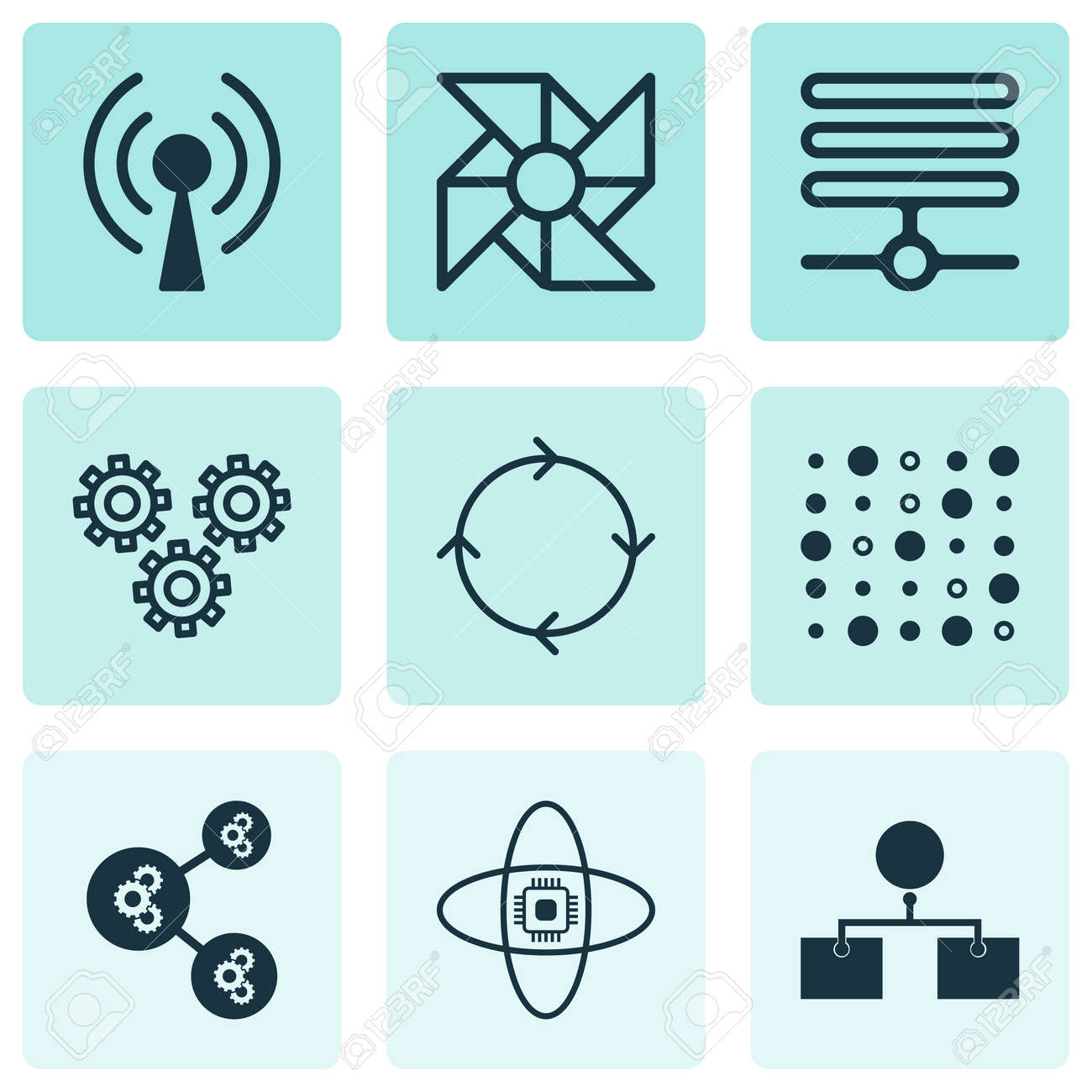 Set Of 9 Machine Learning Icons Includes Information Base Mechanism
