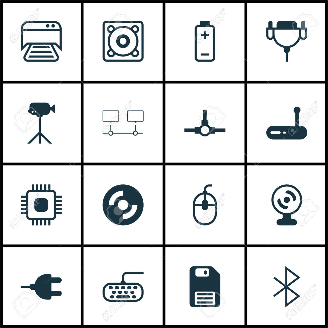 Set Of 16 Computer Hardware Icons Includes Computer Keypad