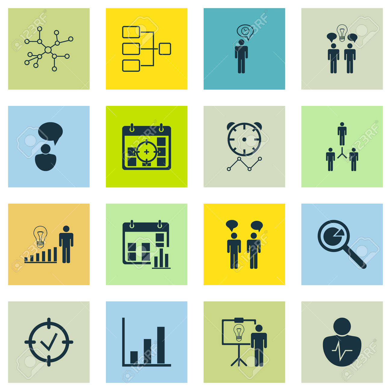 Set Of 16 Administration Icons Includes Bar Chart Group