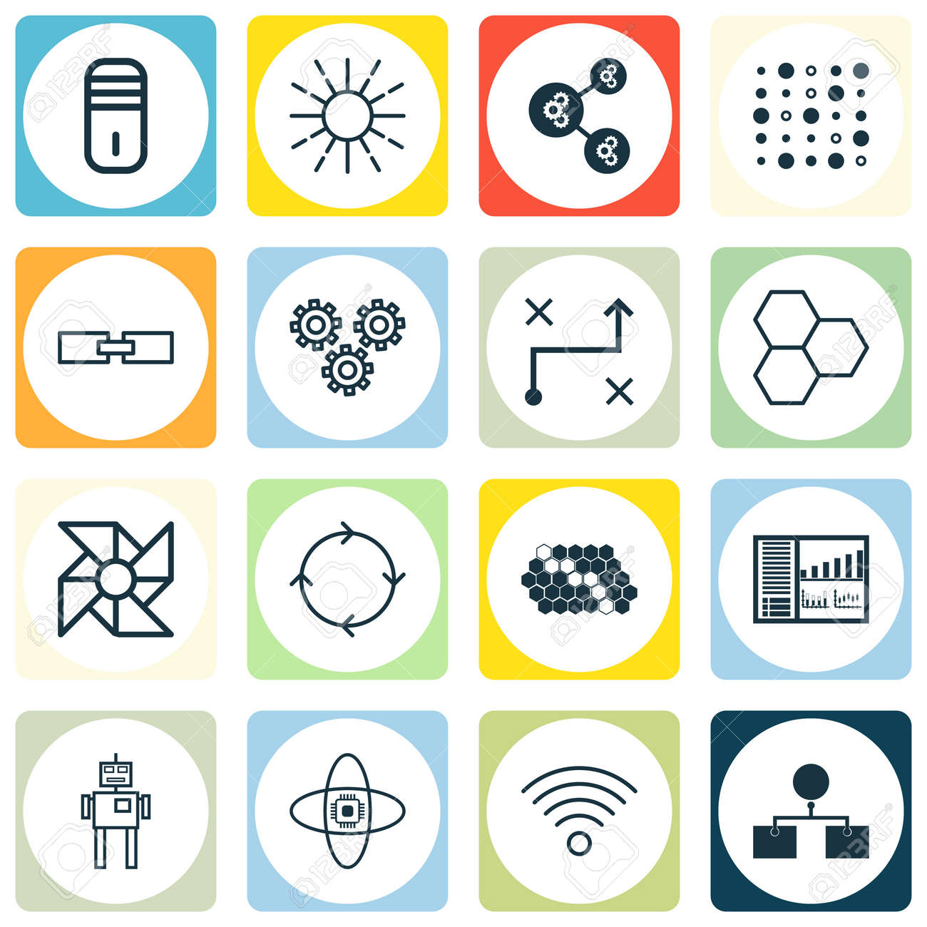 Set Of 16 Robotics Icons Includes Wireless Communications