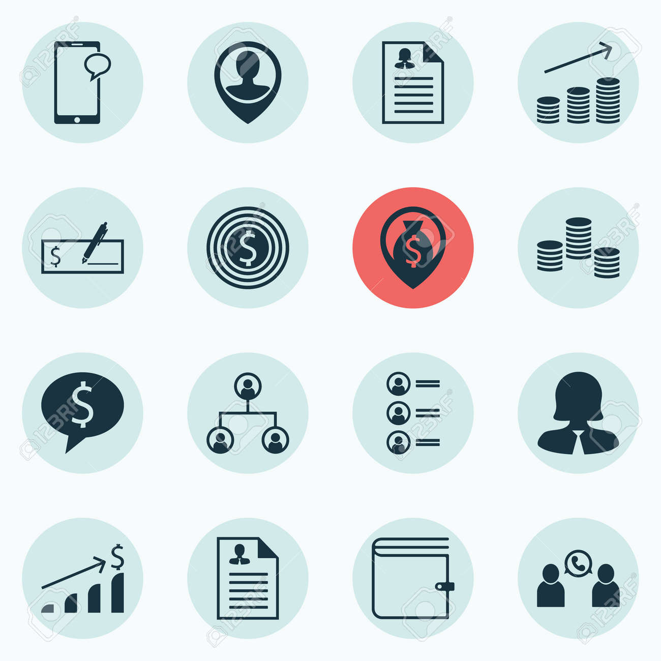 Set Of 16 Hr Icons. Includes Employee Location, Business Deal ...