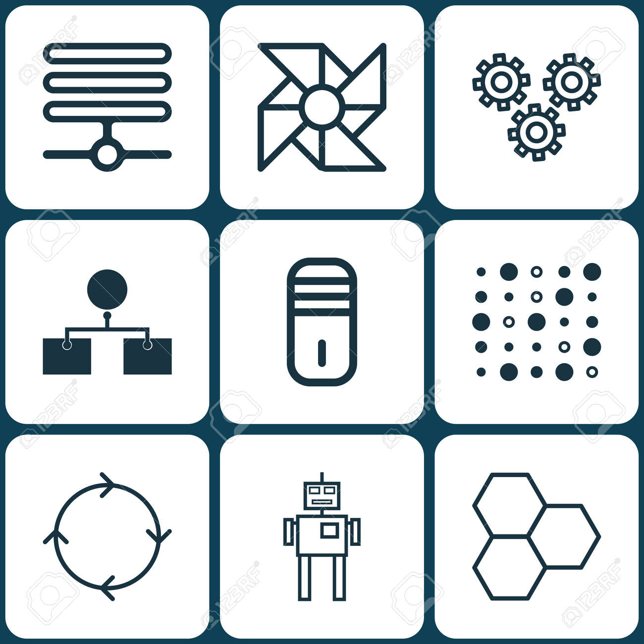 Set Of 9 Machine Learning Icons Includes Mainframe Variable