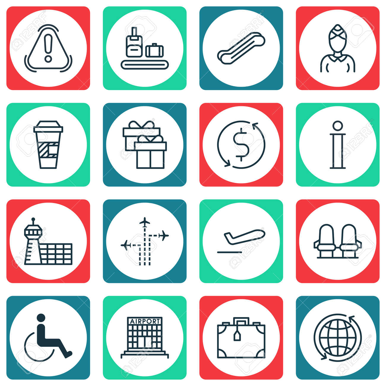 Set Of 16 Travel Icons Includes Hostess Siren Stair Lift And