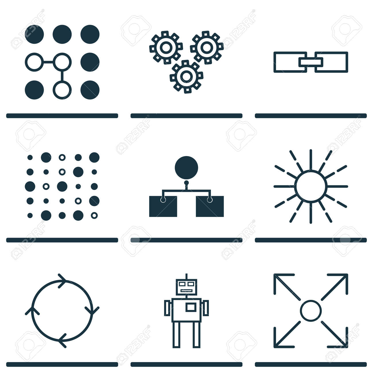 Set Of 9 Machine Learning Icons Includes Branching Program