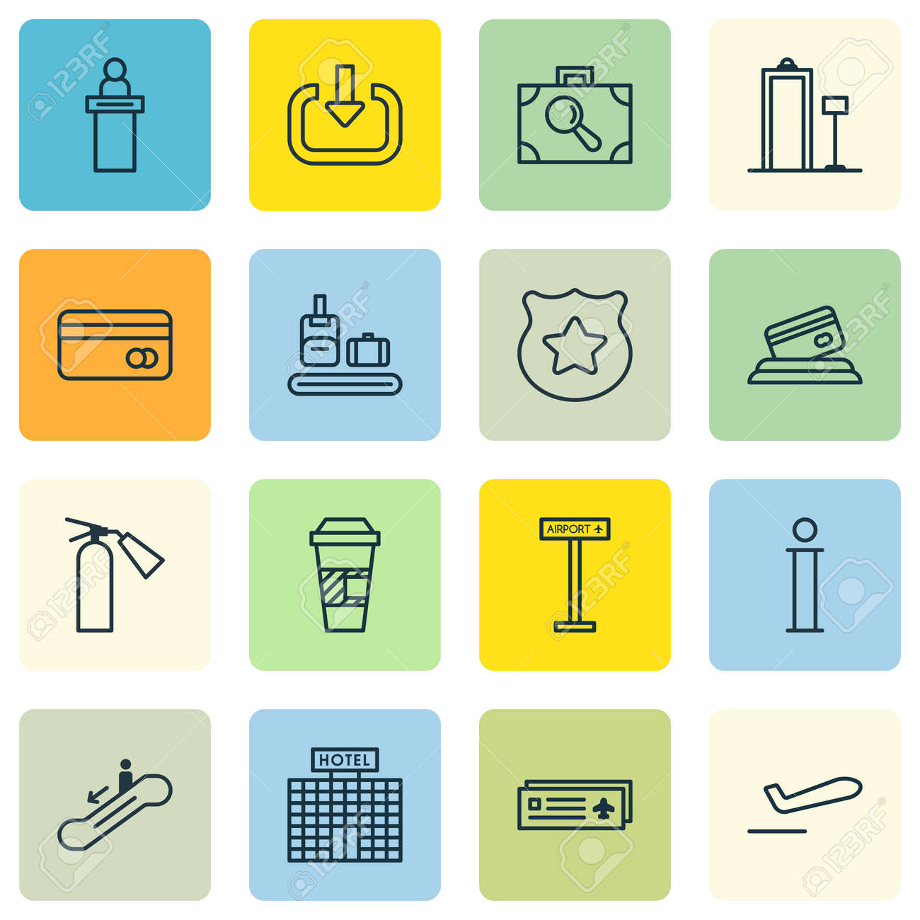 Set Of 16 Traveling Icons Includes Information Cop Symbol