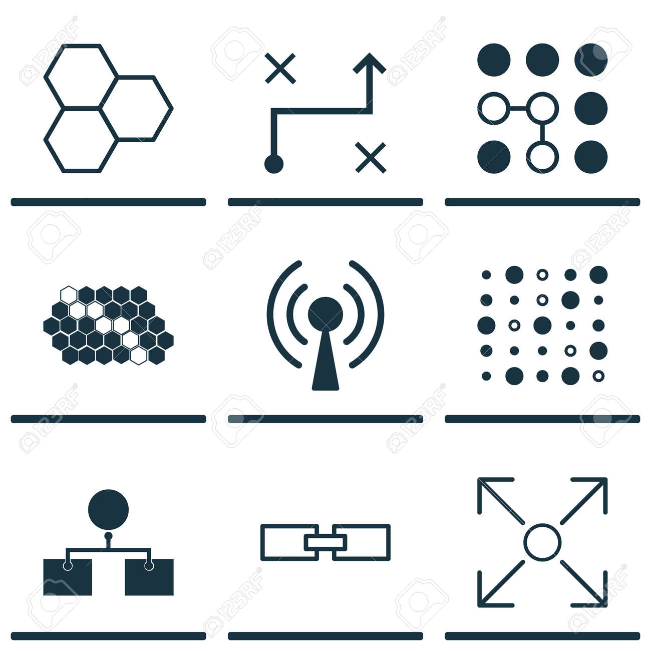 Set Of 9 Machine Learning Icons Includes Hive Pattern Analysis