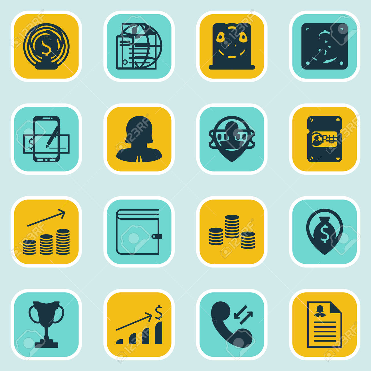 Set Of 16 Management Icons. Includes Business Deal, Curriculum ...