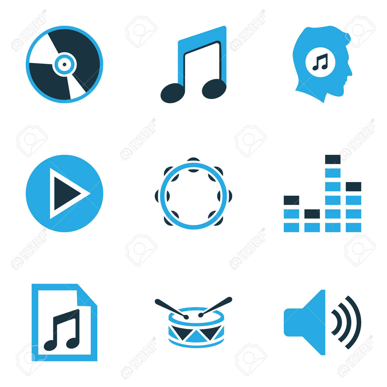 Music colored icons set collection of volume vinyl drum and music colored icons set collection of volume vinyl drum and other elements biocorpaavc Gallery
