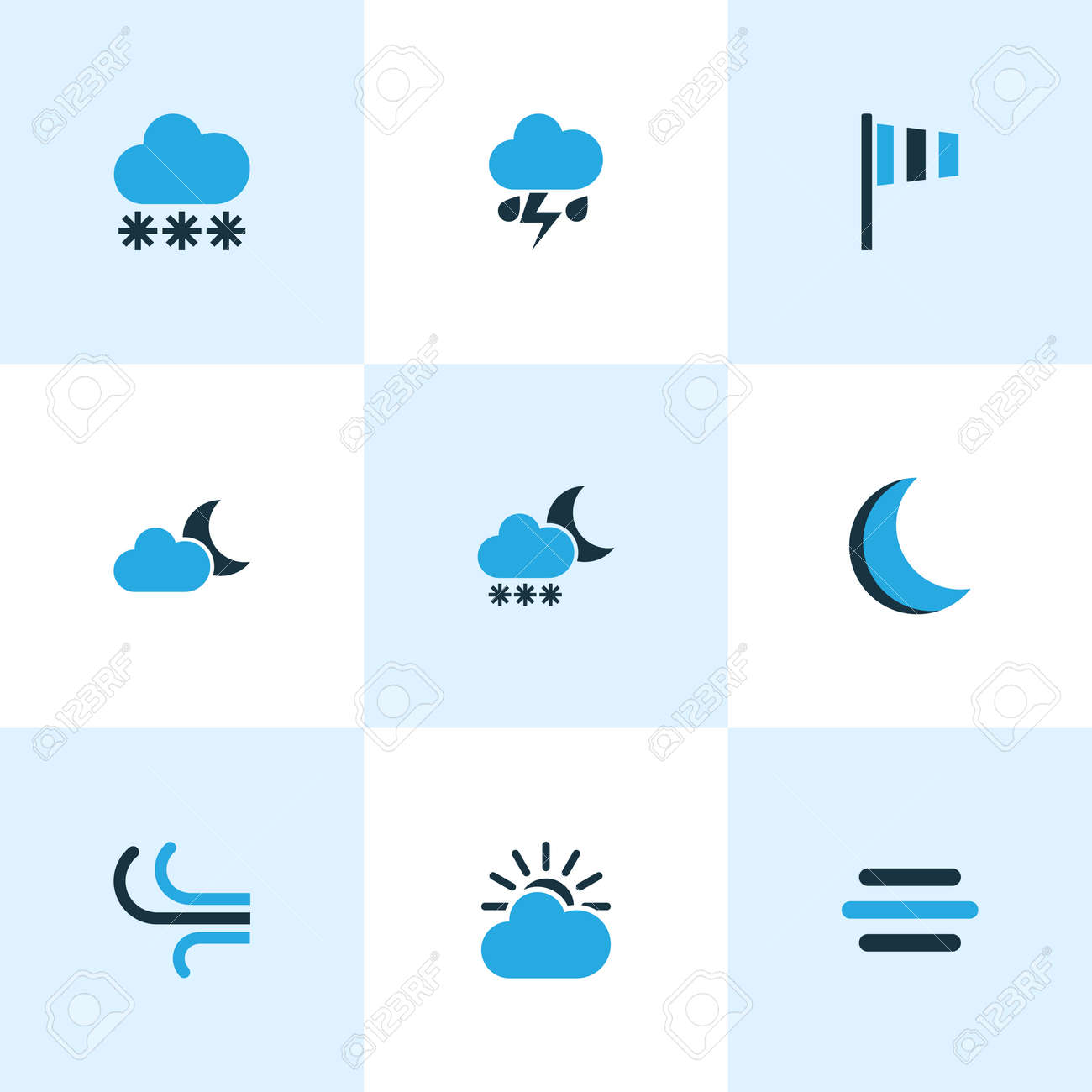 Weather Colored Icons Set Collection Of Night Blizzard Wind