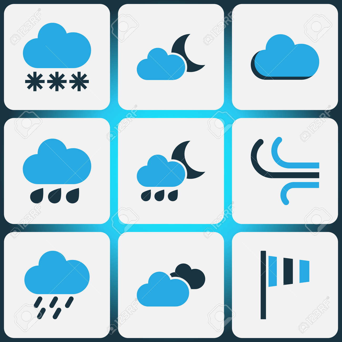 Weather colored icons set collection of wind speed cloudy sky collection of wind speed cloudy sky snowfall and other biocorpaavc Images