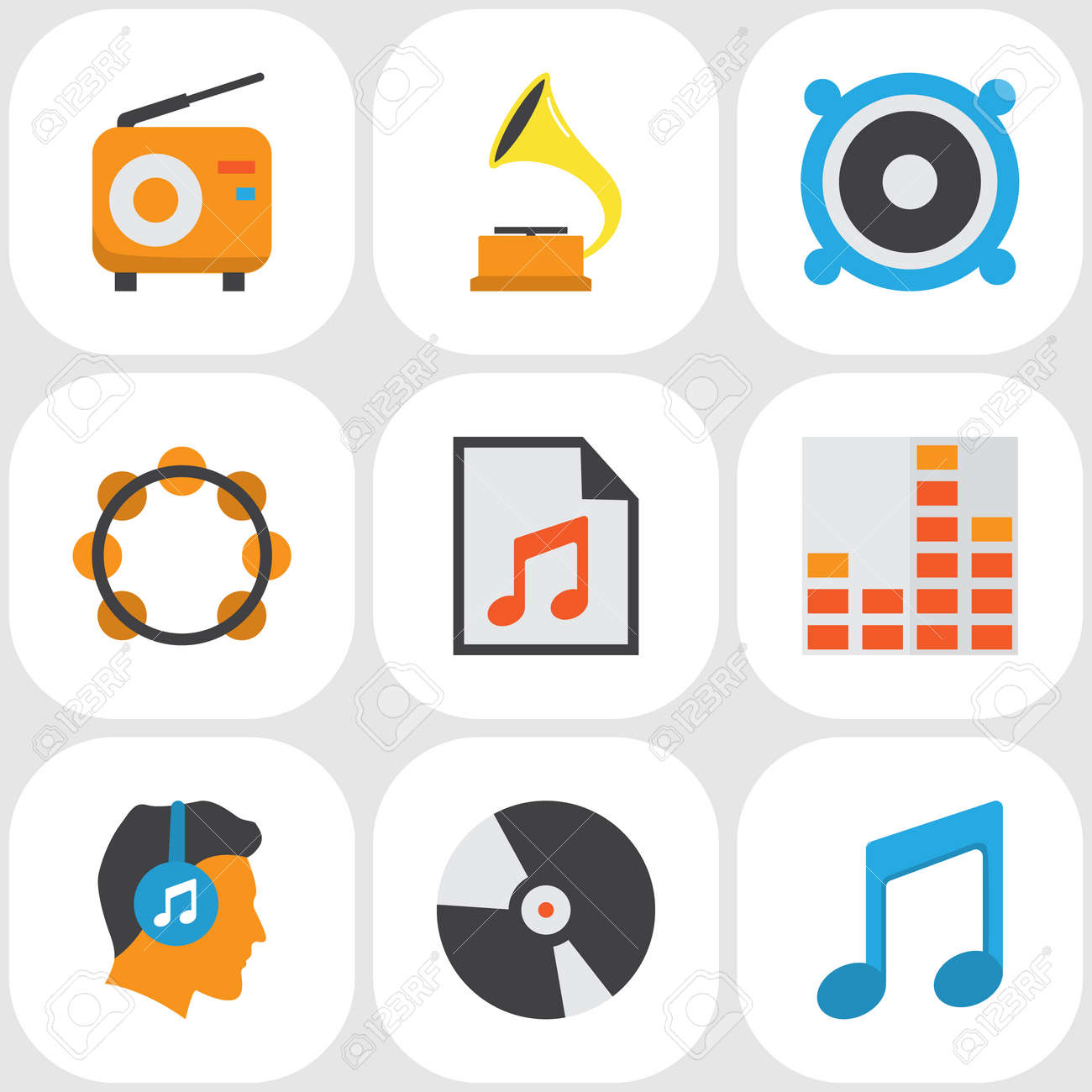 Audio Flat Icons Set Collection Of Male Media Shellac And