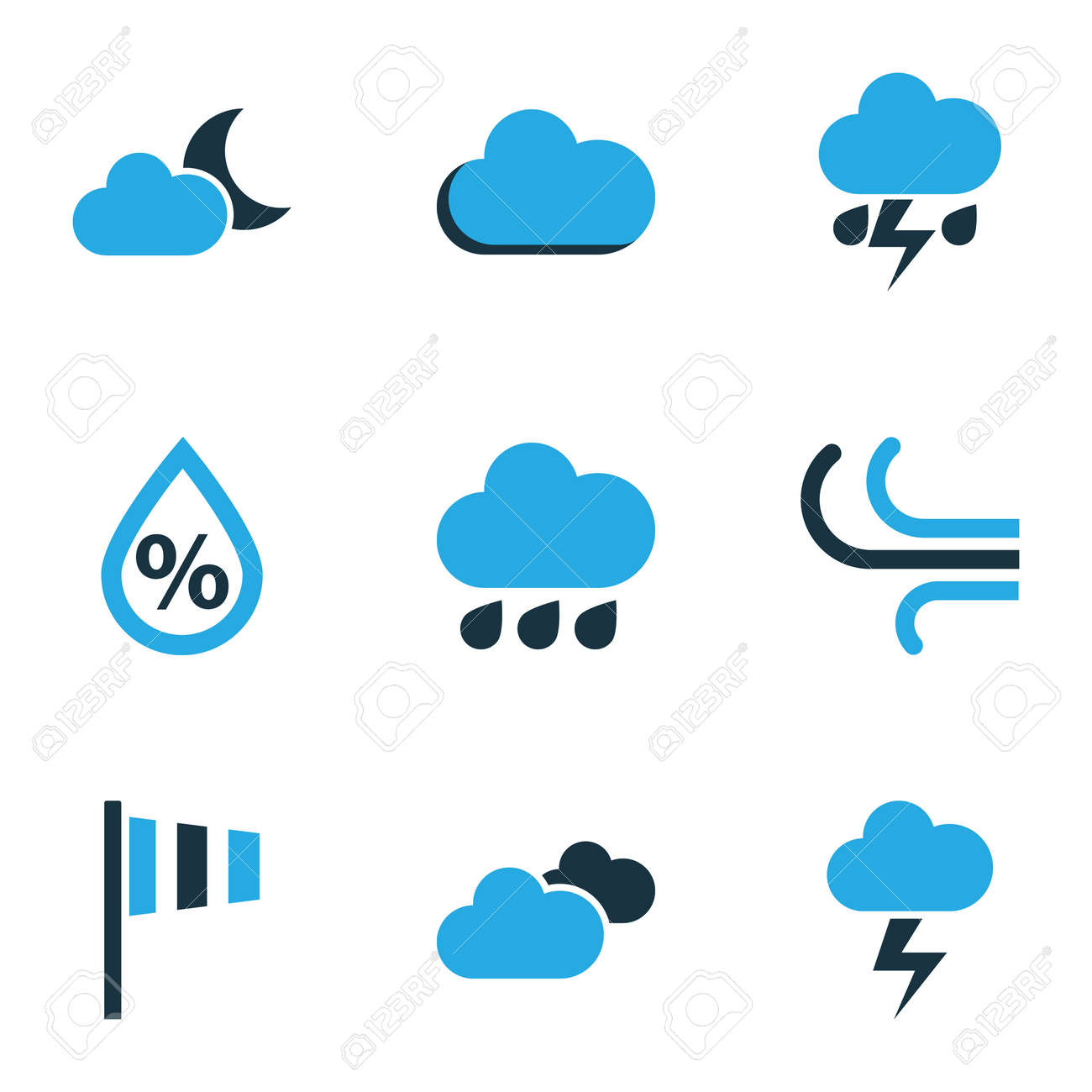 Climate Colored Icons Set. Collection Of Fog, Rainfall, Humidity And Other Elements. Also Includes Symbols Such As Speed, Lightning, Breeze. - 75997842