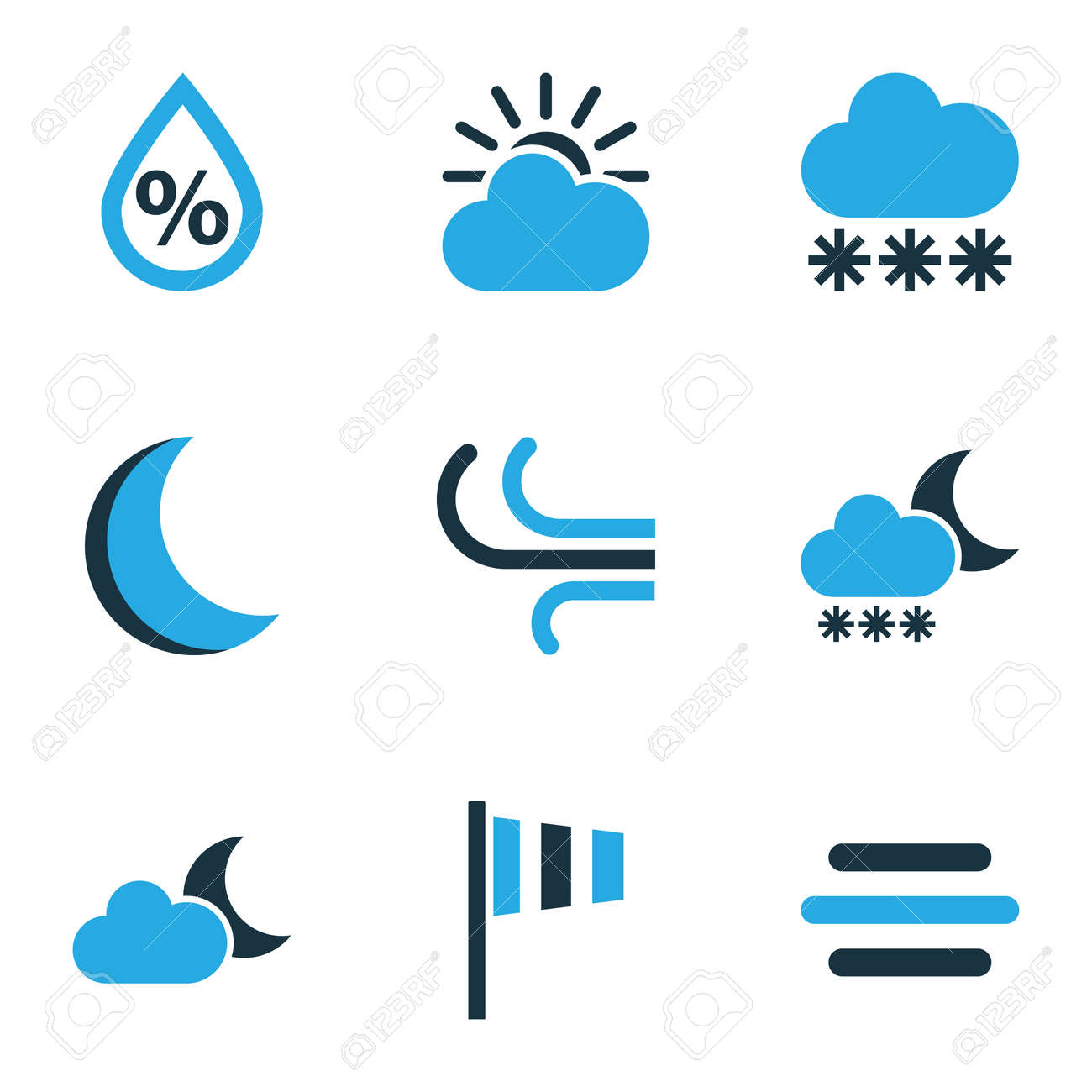 Nature colored icons set collection of wind night blizzard collection of wind night blizzard and other elements biocorpaavc Images