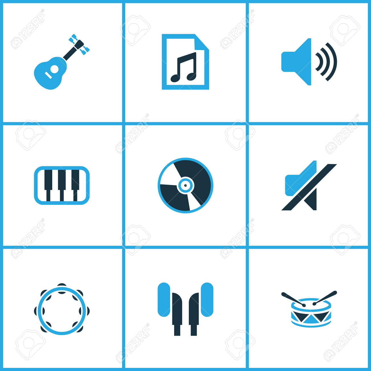 Music colored icons set collection of volume drum guitar and music colored icons set collection of volume drum guitar and other elements biocorpaavc Gallery