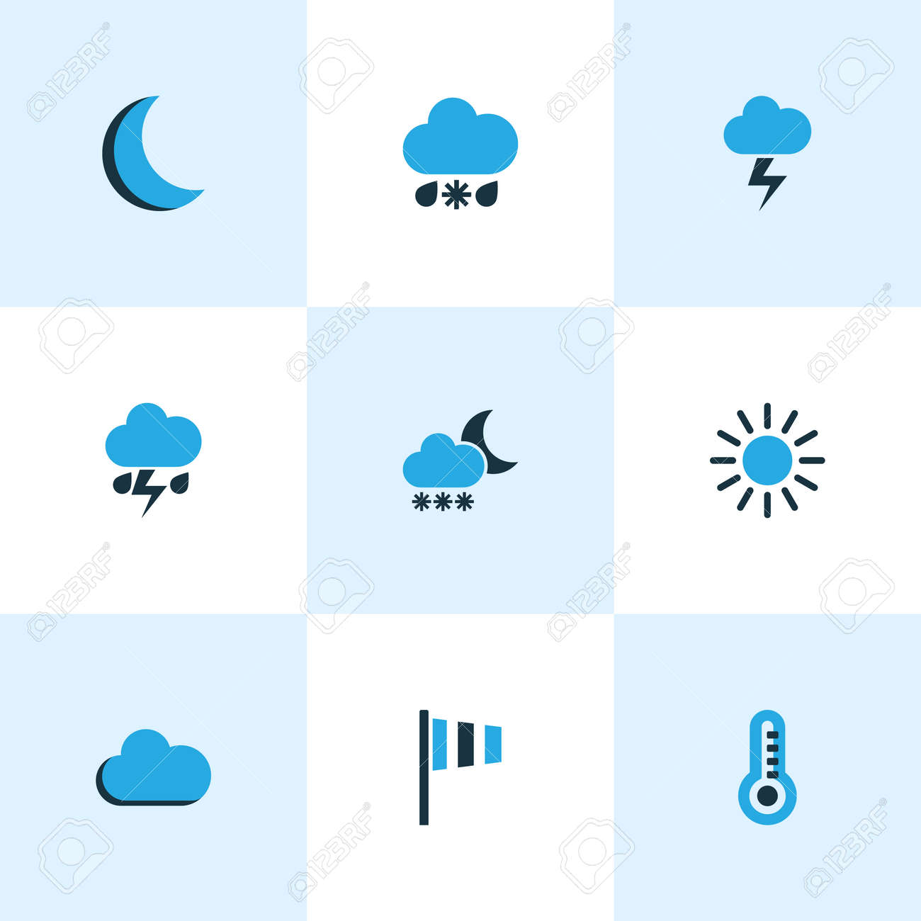 Climate Colored Icons Set Collection Of Cold Weather Wind Speed