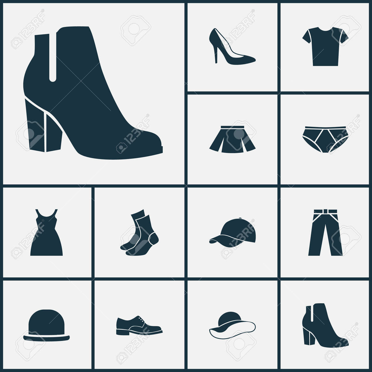 4c8a679b Garment Icons Set. Collection Of Casual, Female Winter Shoes, Trilby And  Other Elements