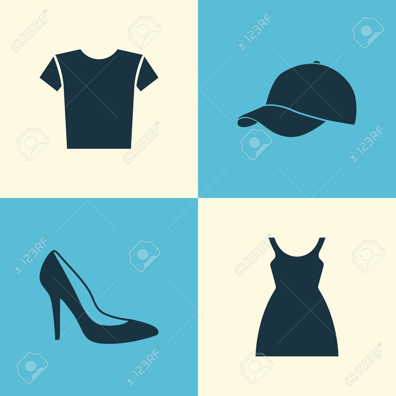 36c62076 Garment Icons Set. Collection Of Casual, Dress, Trilby And Other Elements.  Also