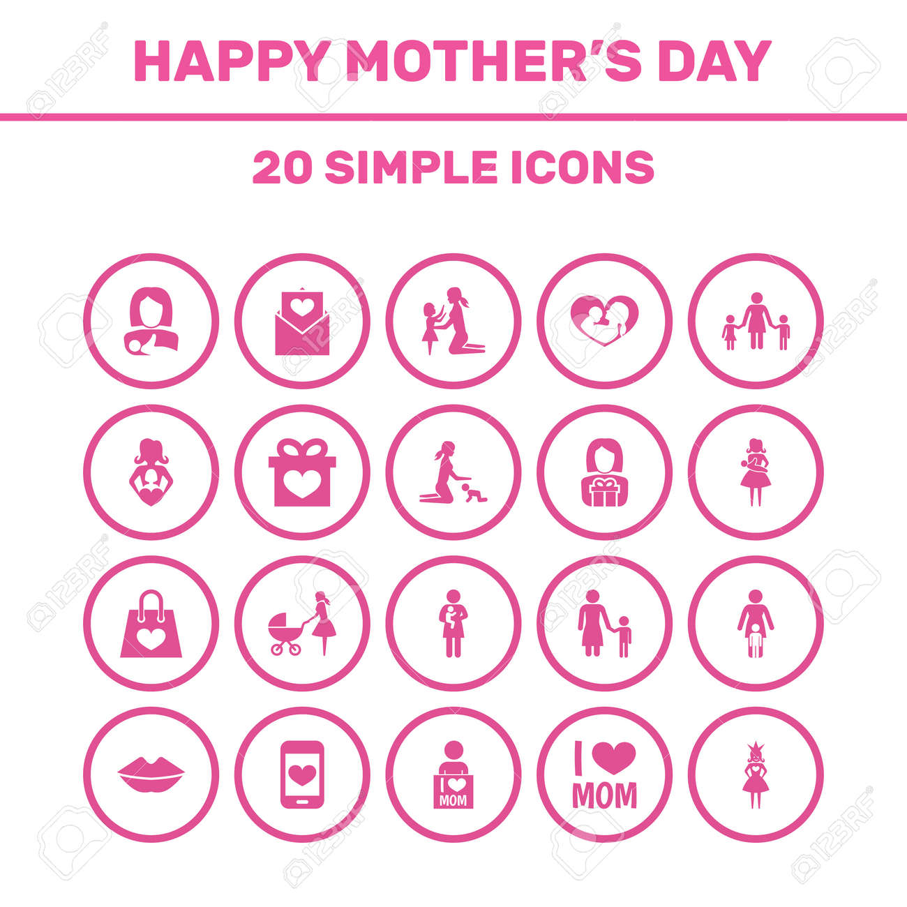 Mothers Day Icon Design Concept  Set Of 20 Such Elements As Letter,