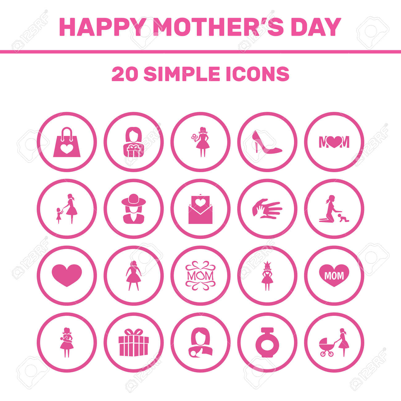 Mothers day icon design concept set of 20 such elements as lady set of 20 such elements as lady hat and buycottarizona