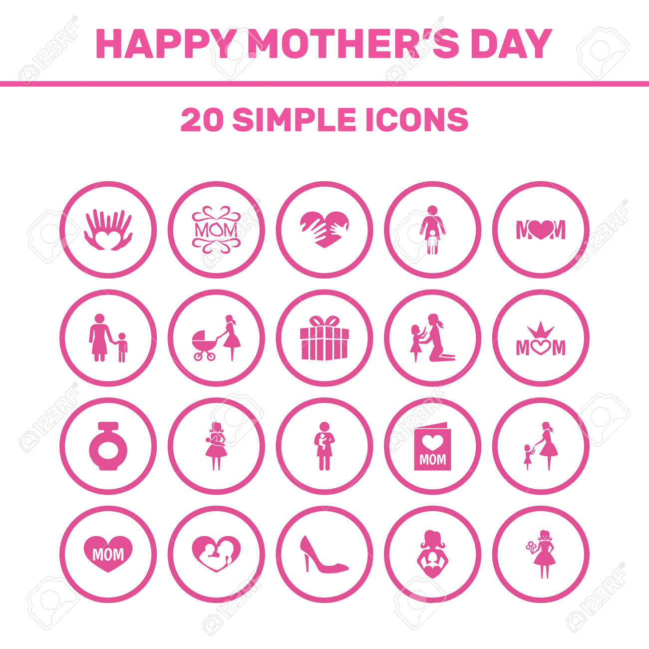 Mothers day icon design concept set of 20 such elements as design set of 20 such elements as design hands buycottarizona