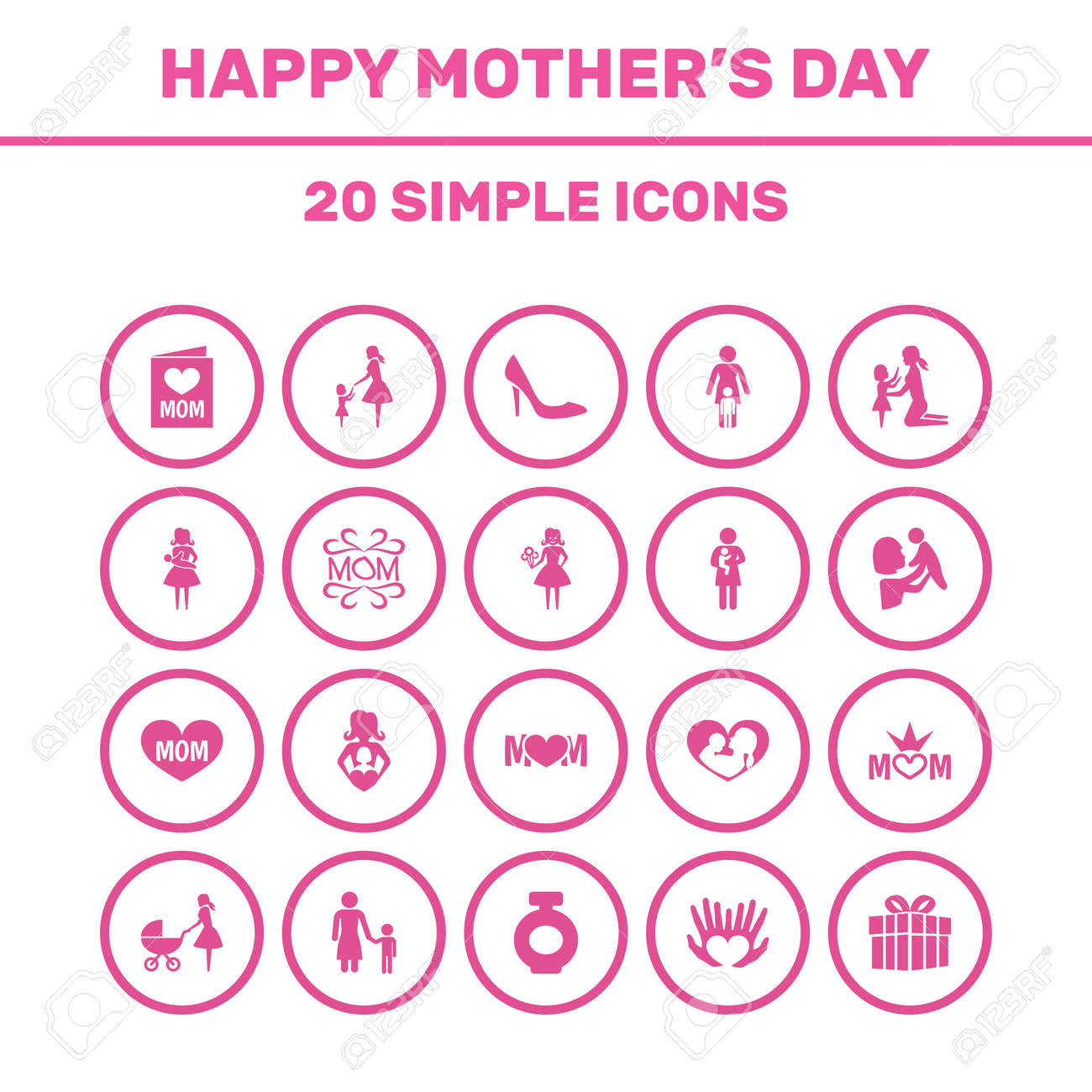 Mothers Day Icon Design Concept Set Of 20 Such Elements As Newborn