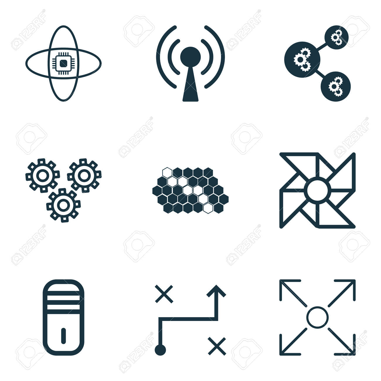 Set Of 9 Robotics Icons Includes Algorithm Illustration Branching
