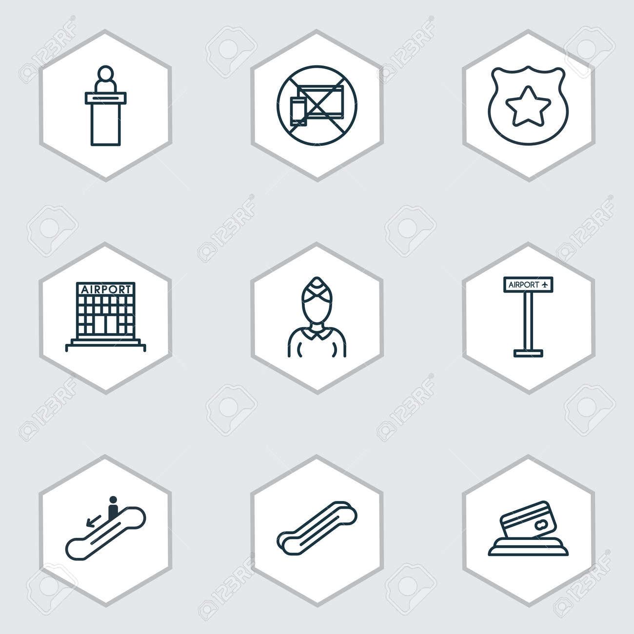 Set Of 9 Traveling Icons Includes Airfield Manufacture Airplane