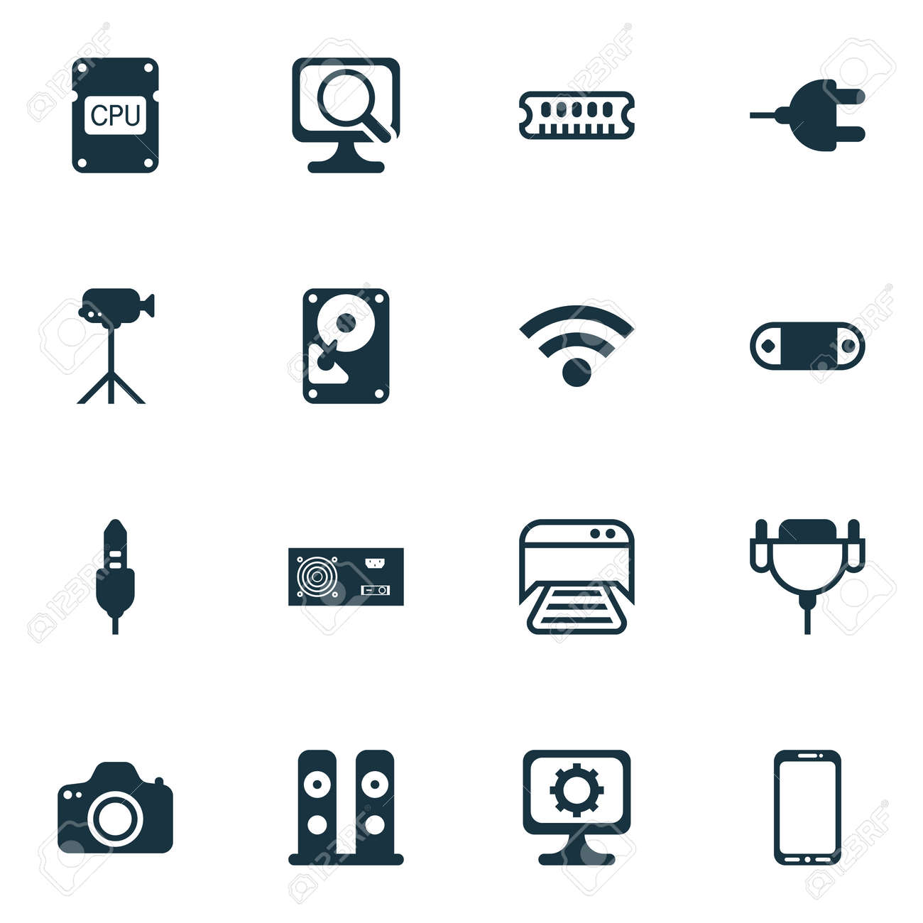 Set Of 16 Computer Hardware Icons. Includes Camcorder, Loudspeakers ...
