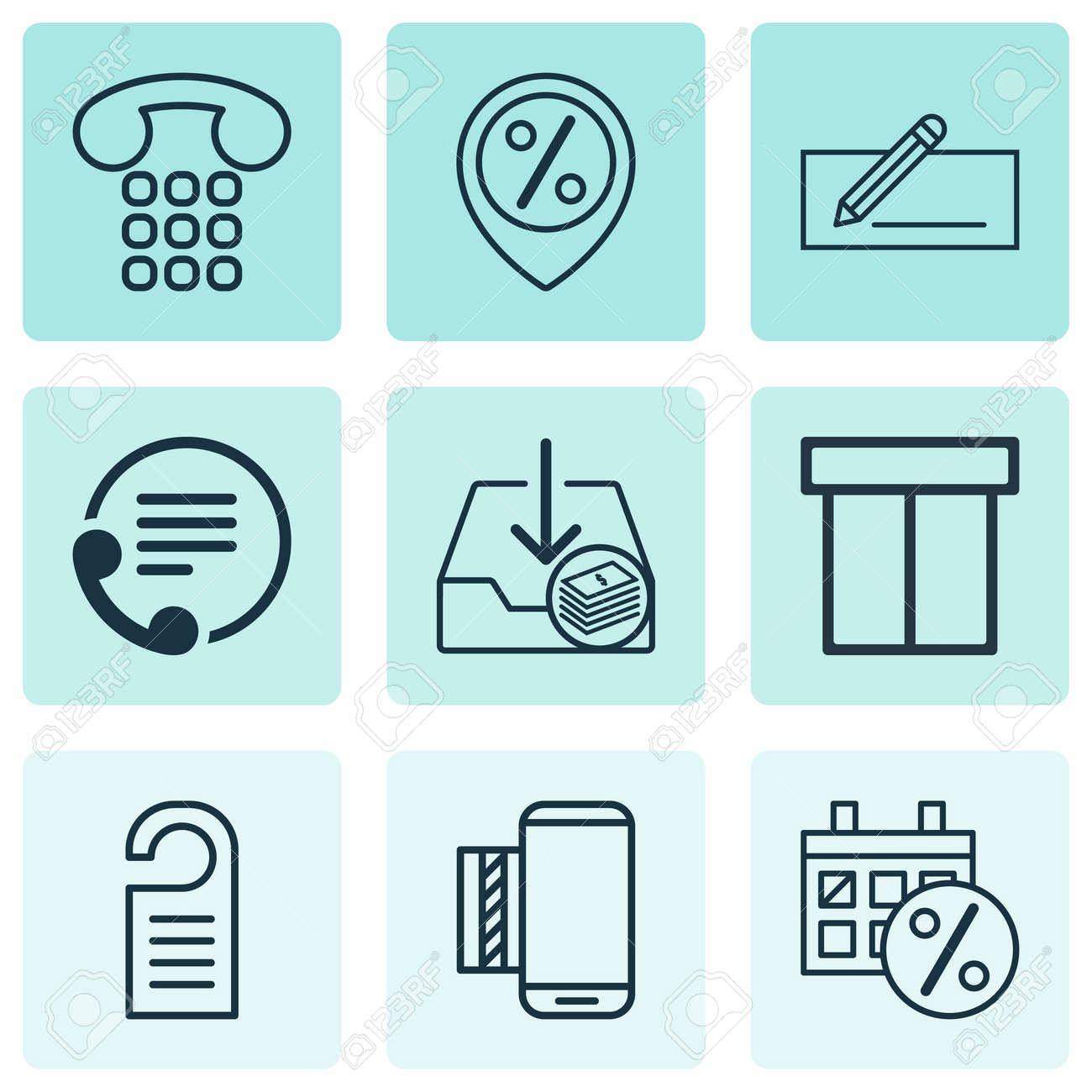 Set Of 9 E-Commerce Icons. Includes Mobile Service, Discount ...