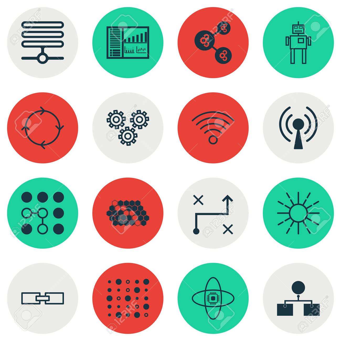 Set Of 16 Machine Learning Icons Includes Solution Cyborg