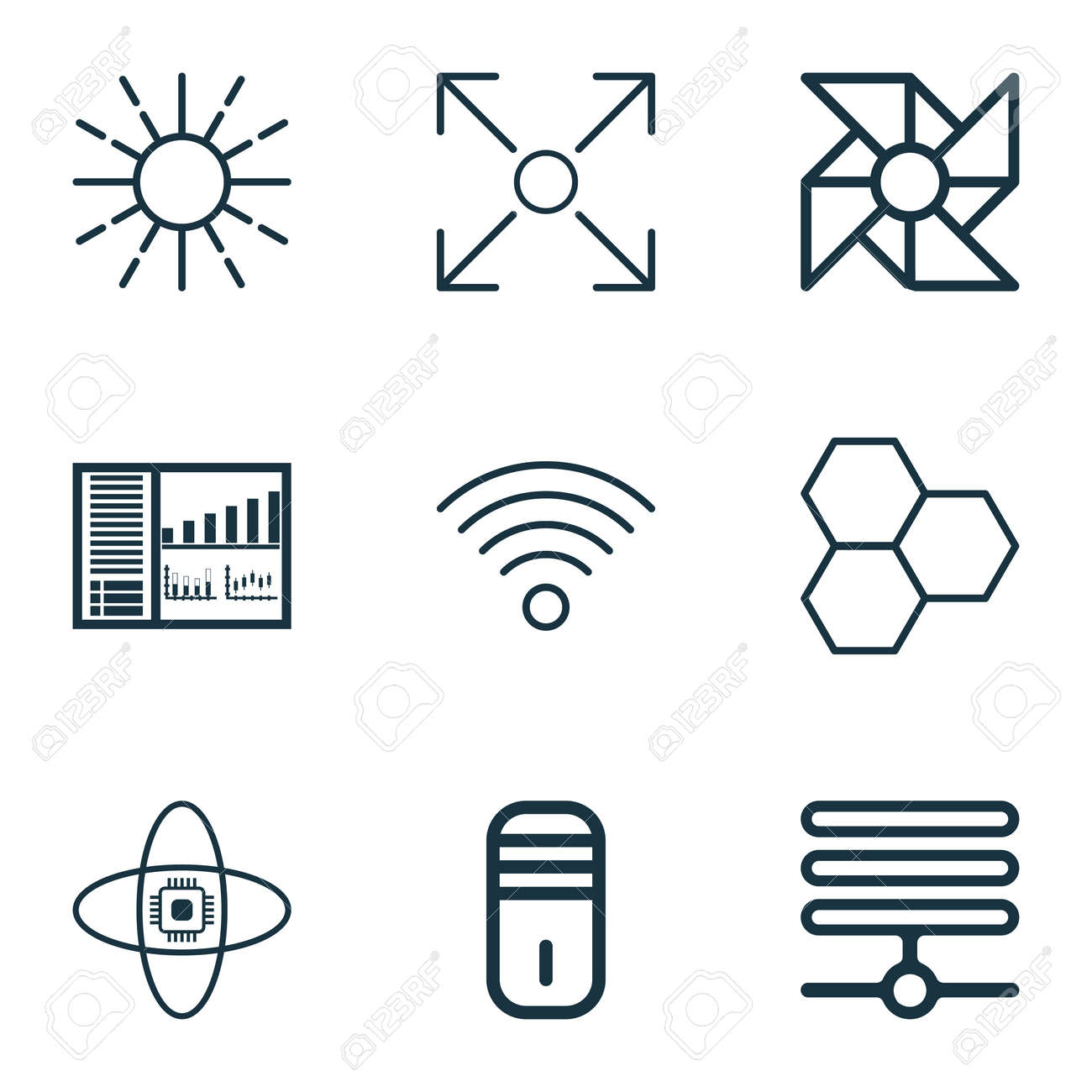 Set Of 9 Robotics Icons Includes Wireless Communications