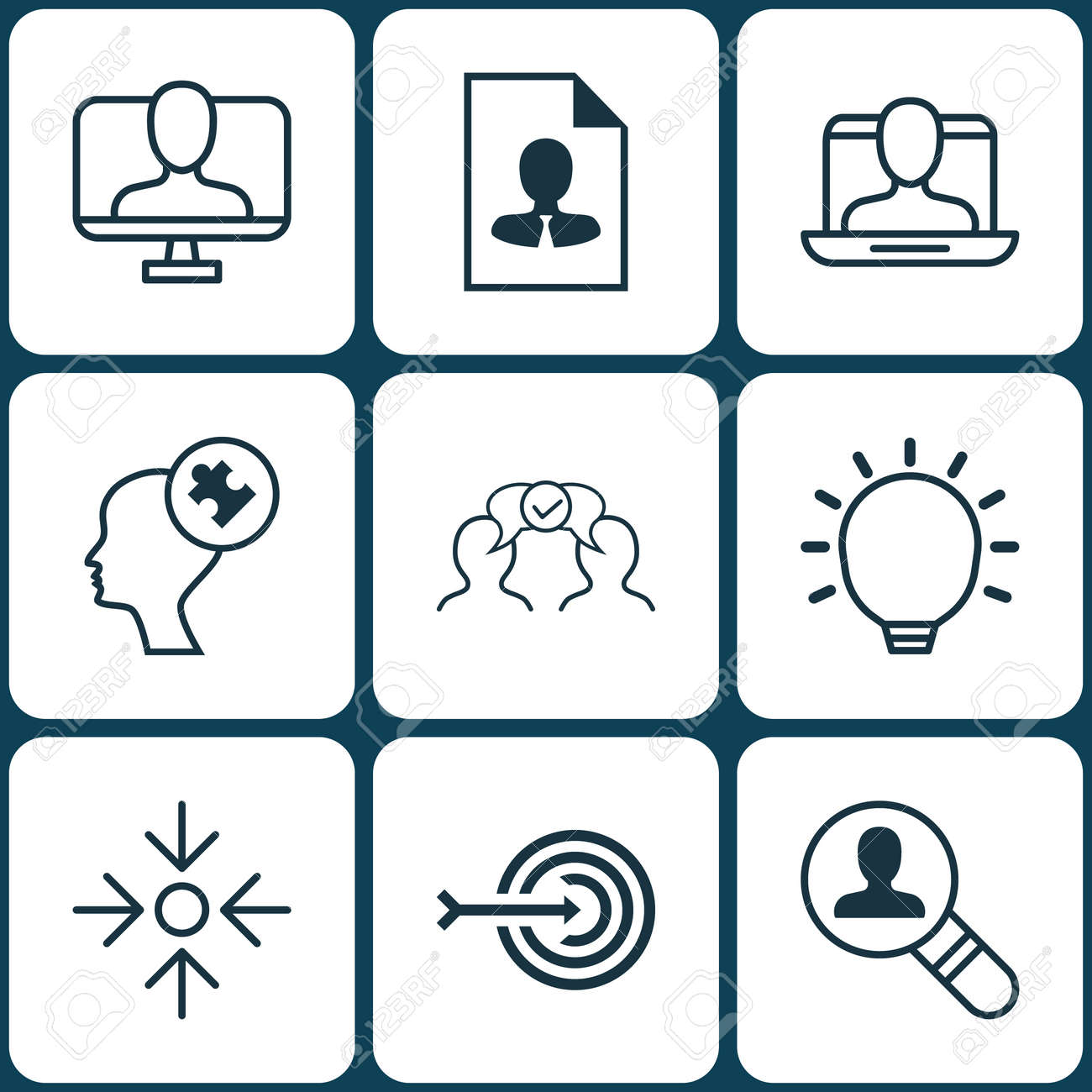 Set Of 9 Business Management Icons. Includes Cv, Online Identity ...