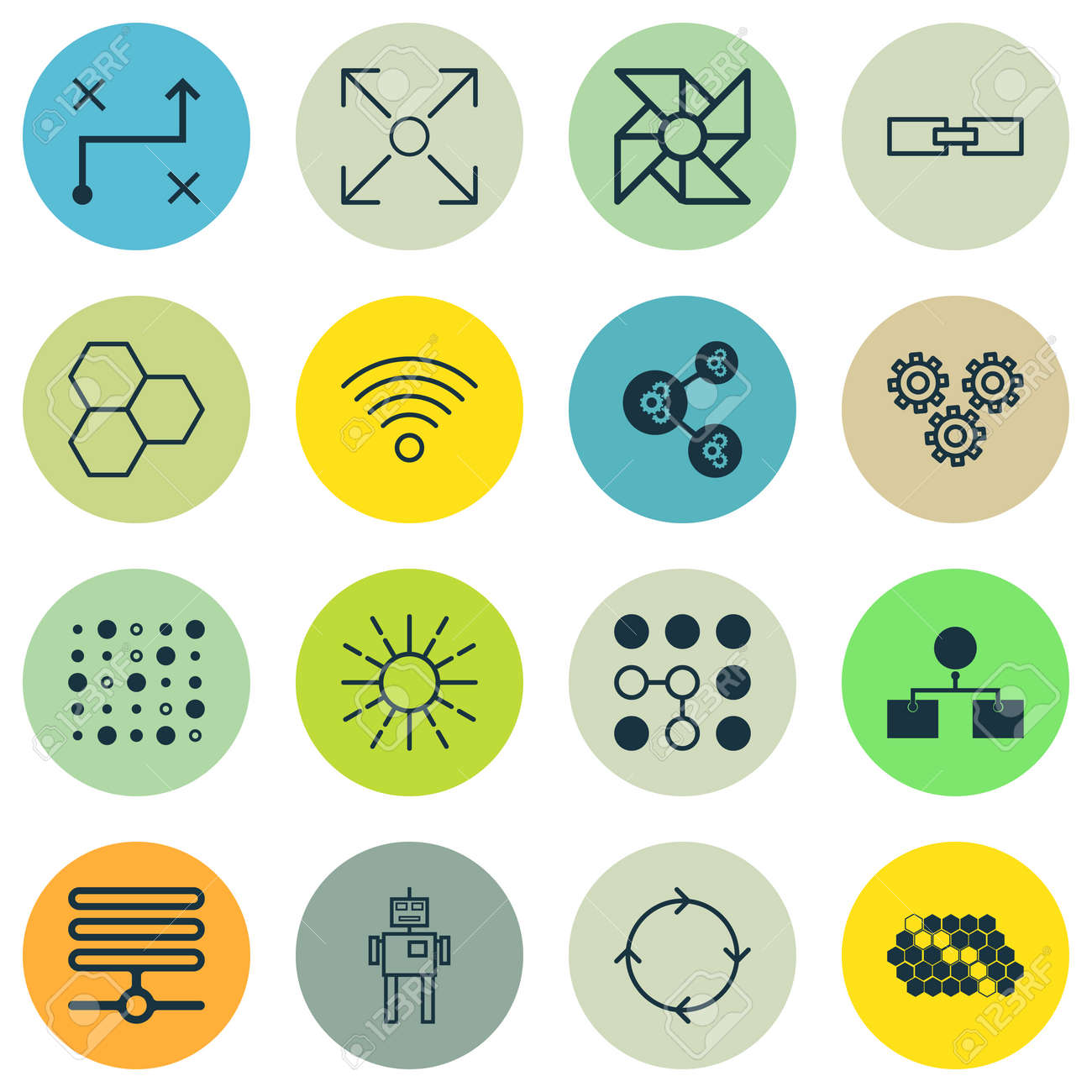 Set Of 16 Robotics Icons Includes Information Components Cyborg