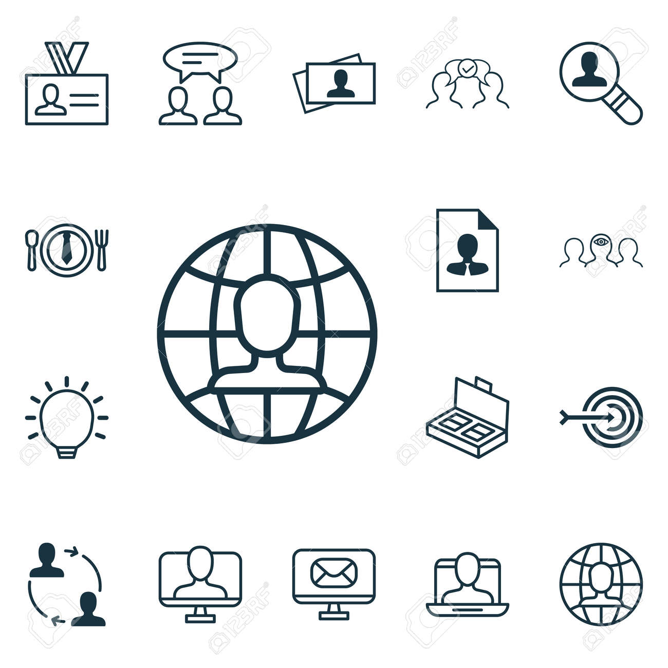 Set Of 16 Business Management Icons. Includes Cooperation, Cv ...