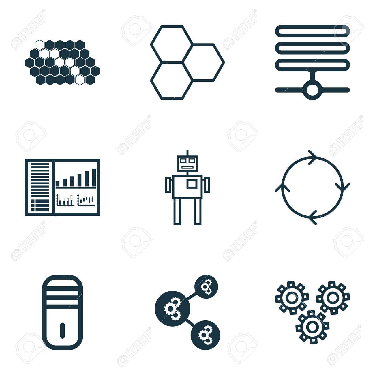 Set Of 9 Machine Learning Icons Includes Mechanism Parts Cyborg