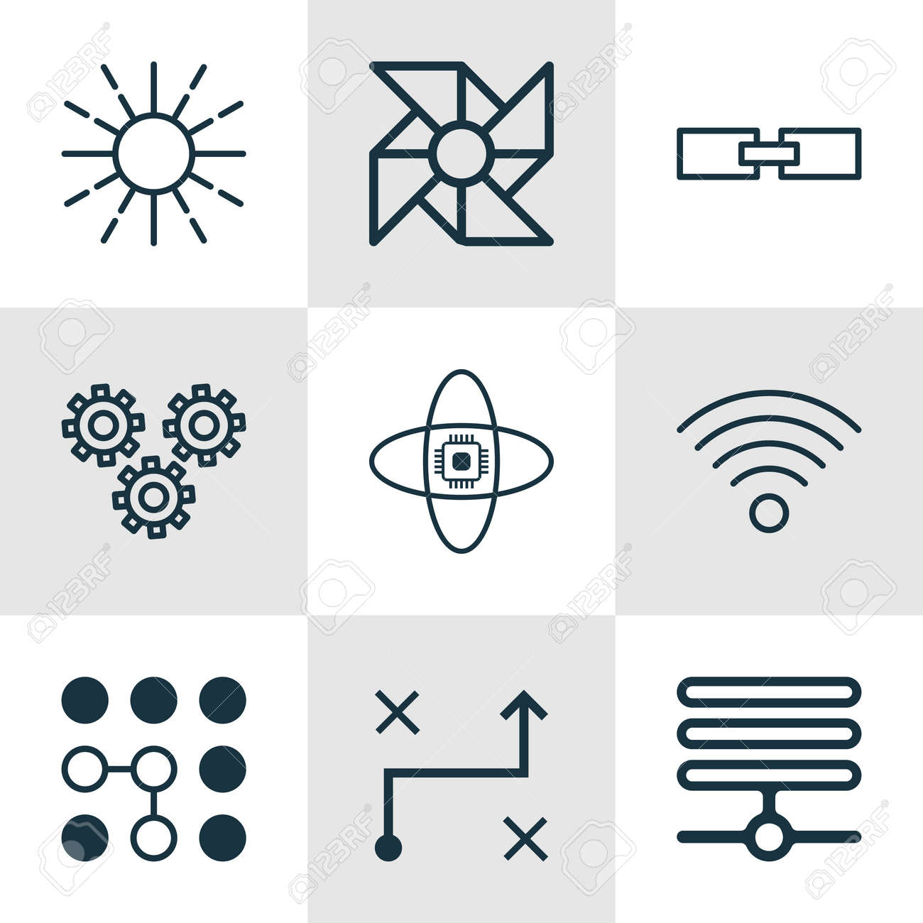 Set Of 9 Robotics Icons Includes Atomic Cpu Solution Related