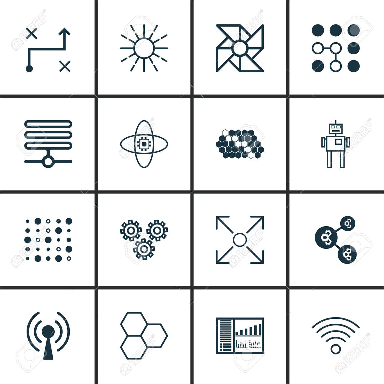 Set Of 16 Machine Learning Icons Includes Wireless Communications