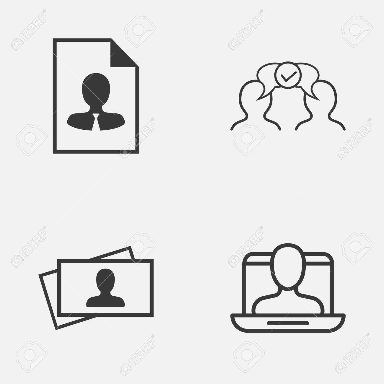 Business icons set collection of calling card social profile business icons set collection of calling card social profile cv and other elements reheart Images
