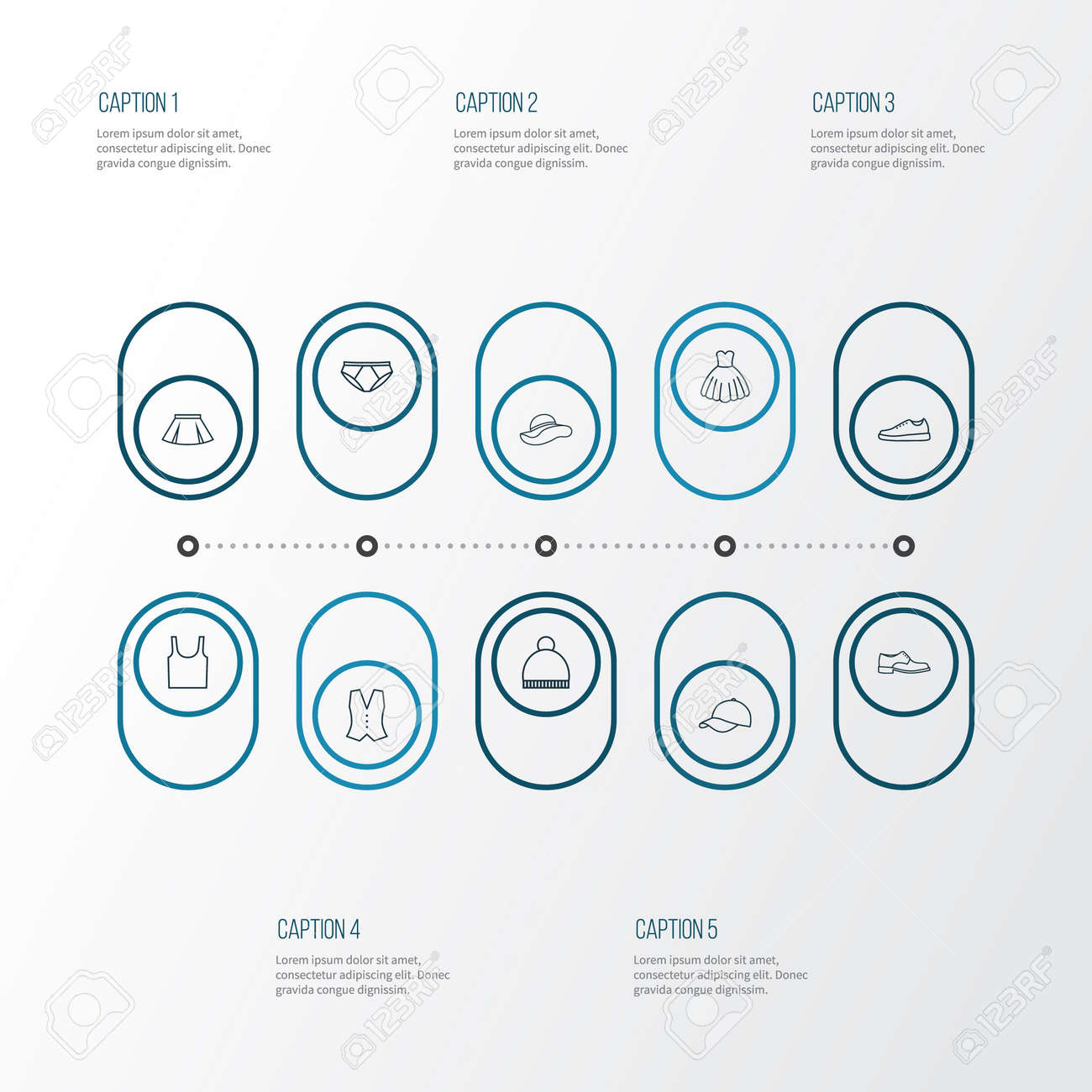 Dress Outline Icons Set Collection Of Waistcoat Gumshoes