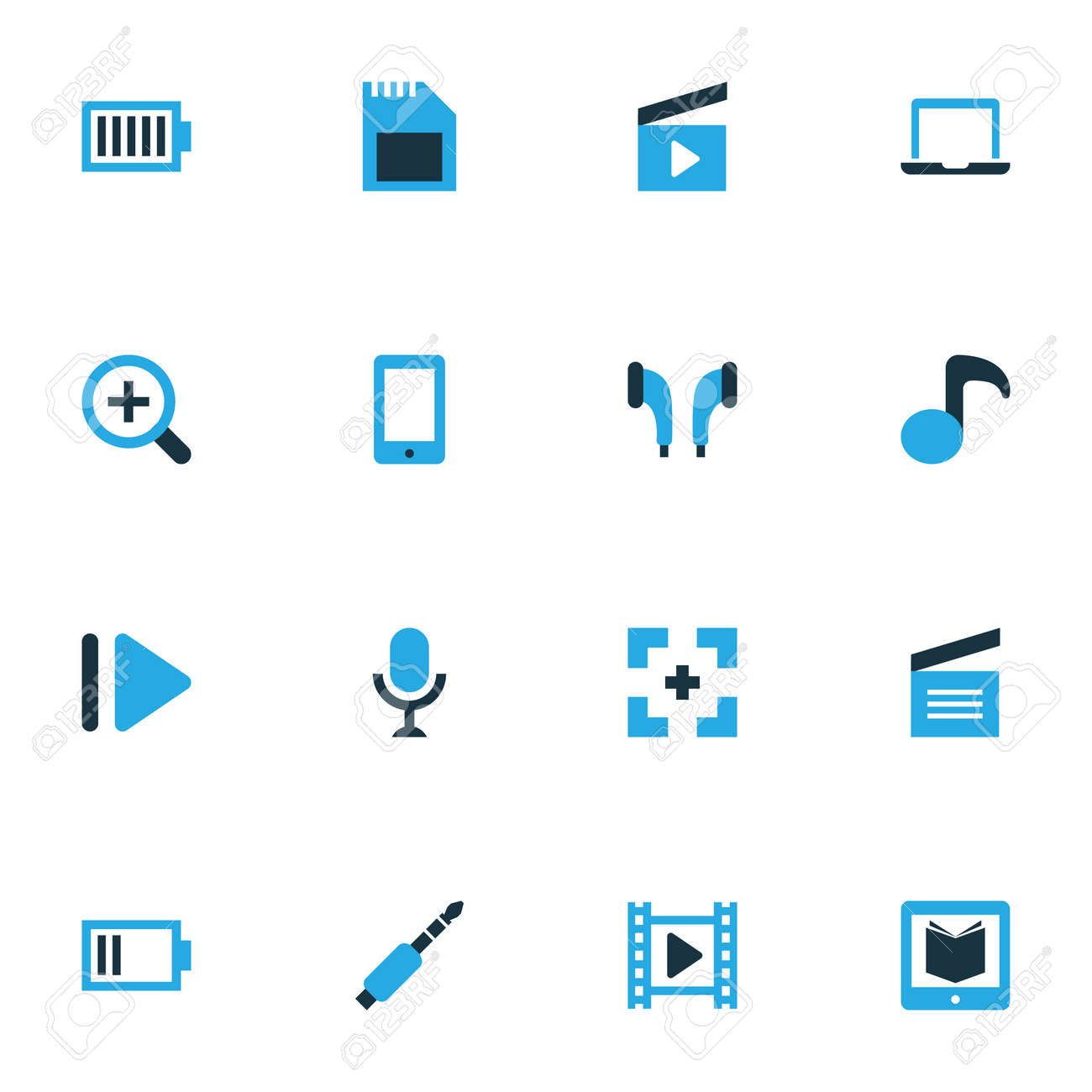 Multimedia Colorful Icons Set Collection Of Movie Audio Karaoke