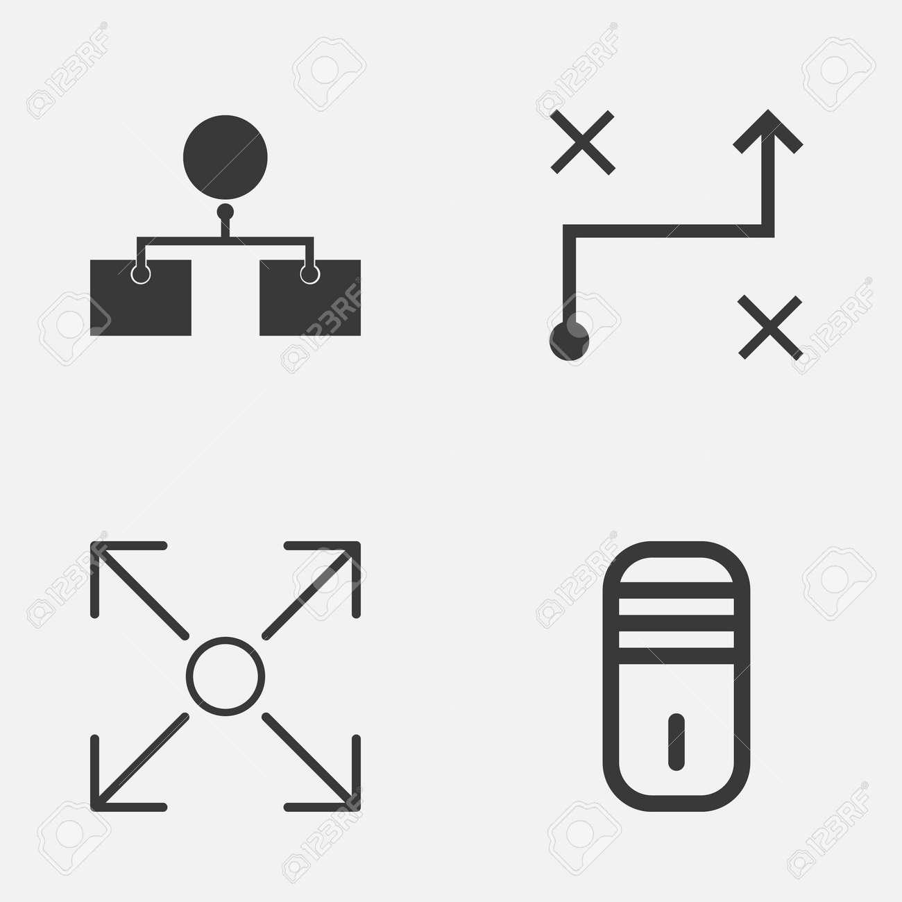 Machine icons set collection of branching program solution collection of branching program solution analysis diagram and other elements ccuart Image collections
