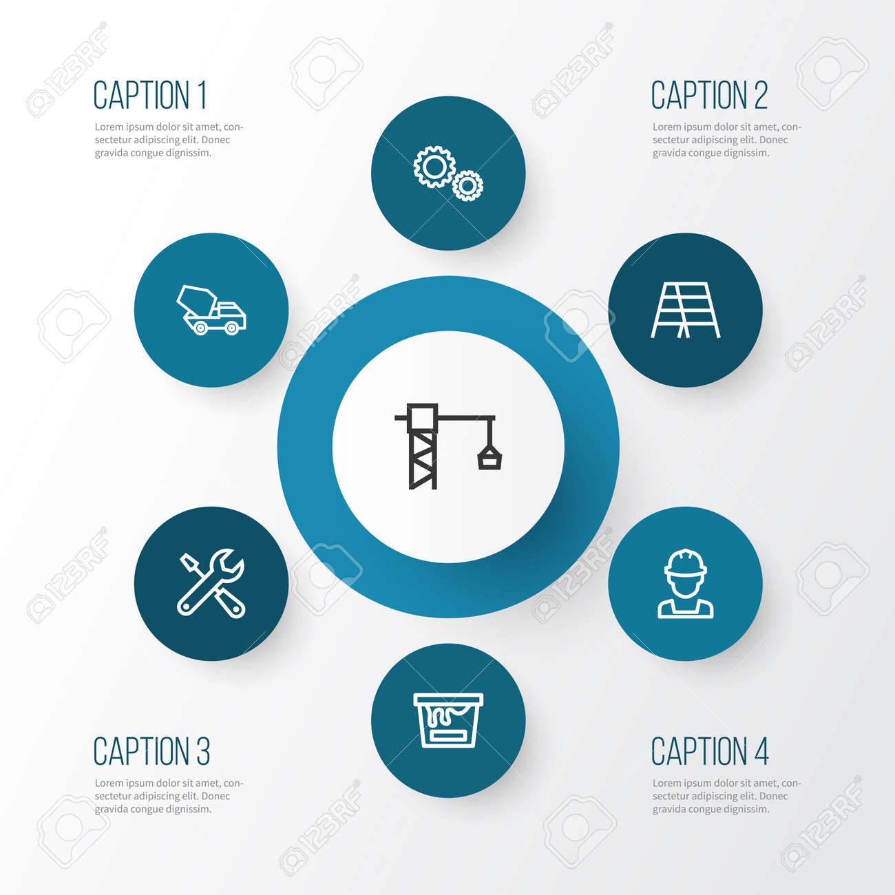 Architecture outline icons set collection of color can stepladder collection of color can stepladder concrete mixer and other ccuart Choice Image
