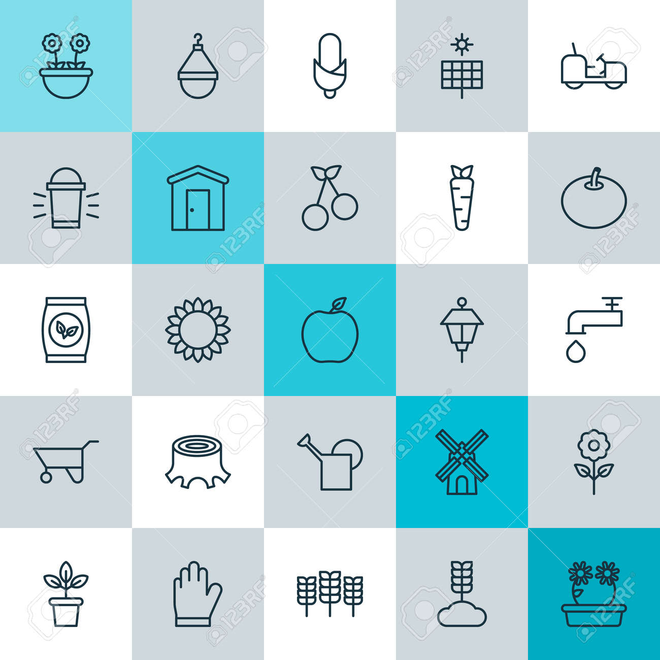 Icons Set. Collection Of Farmhouse, Spigot, Bloom And Other Elements ...