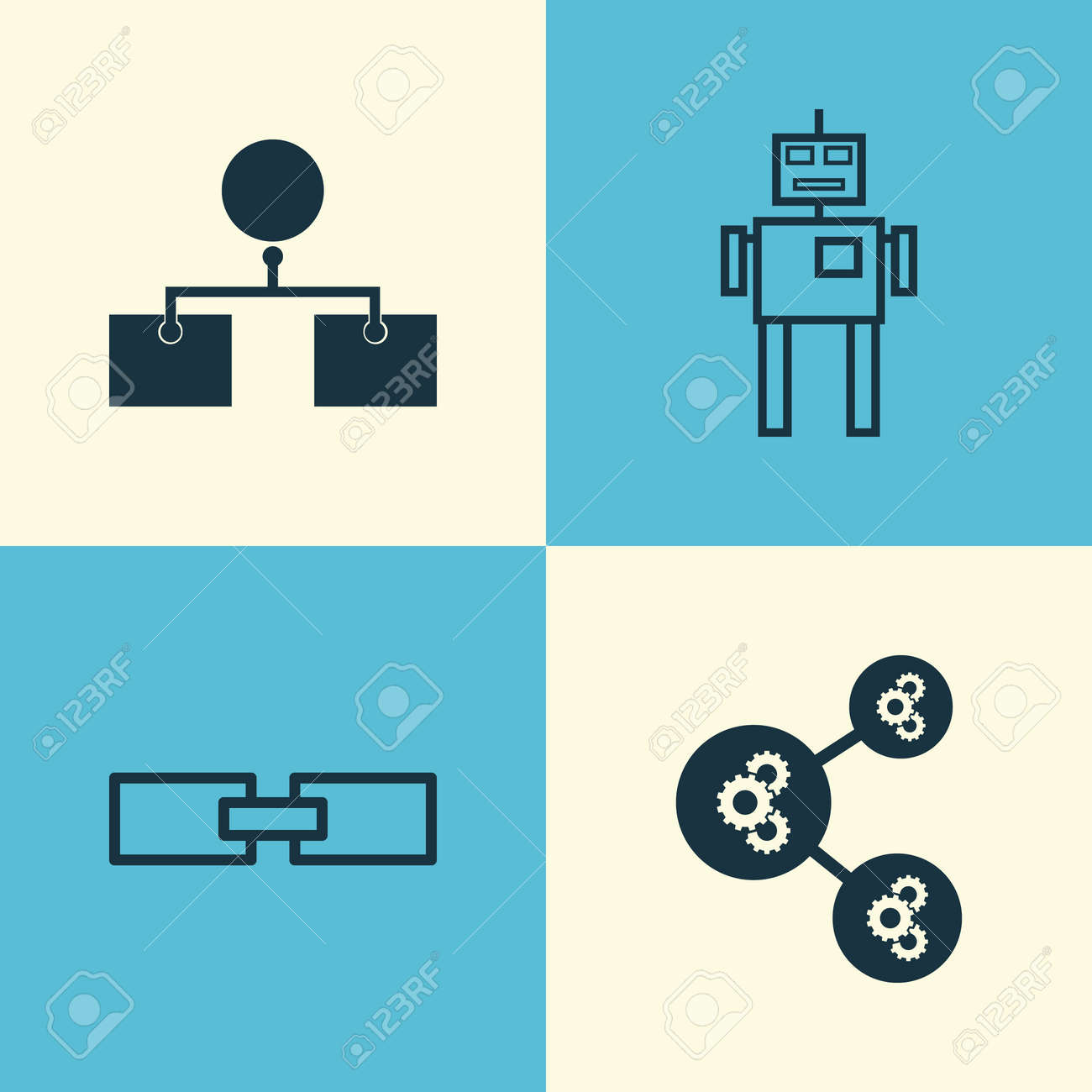 Robotics Icons Set Collection Of Related Information Cyborg