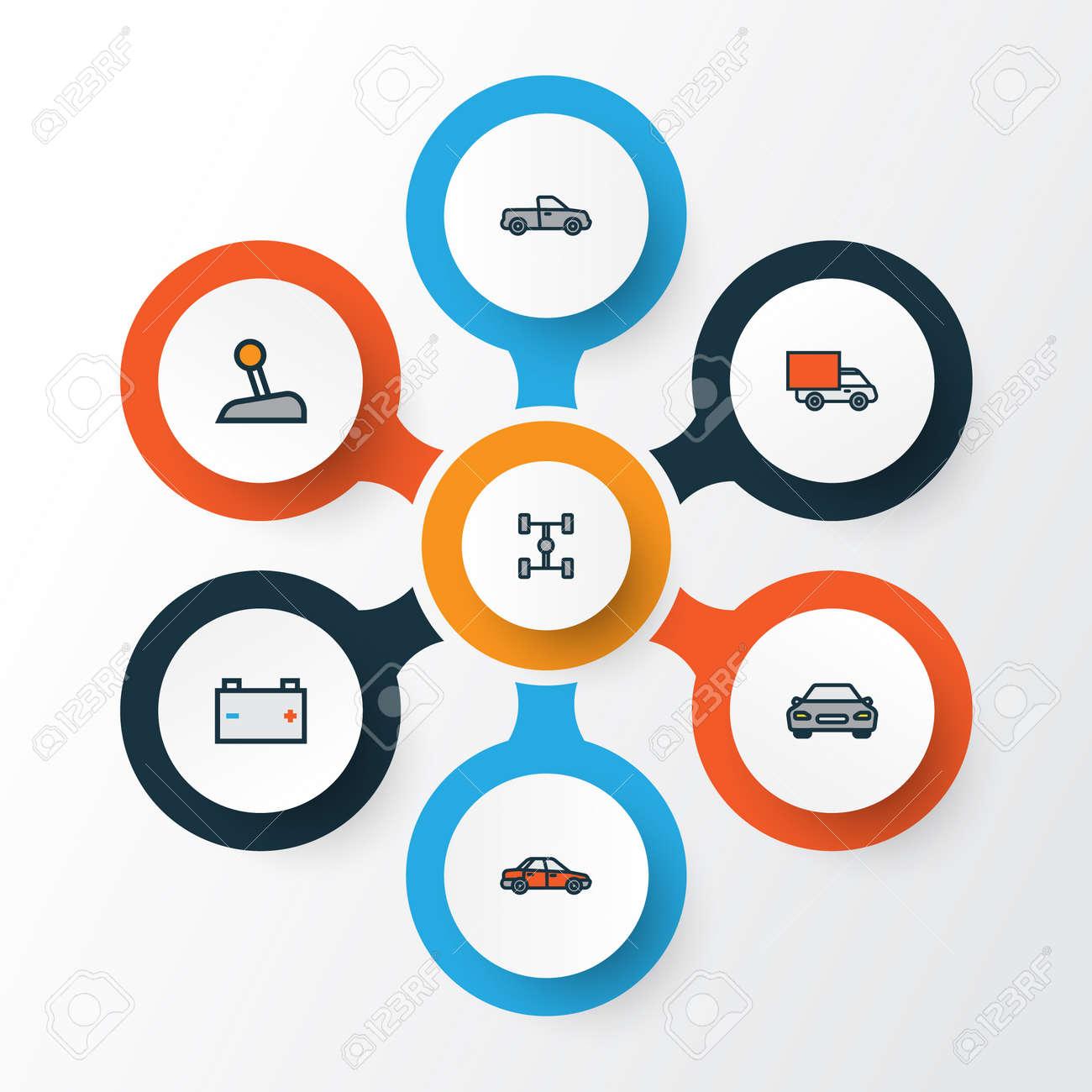 Car Colorful Outline Icons Set Collection Of Auto Automobile Van